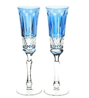 Faberge Xenia Azure Lt Blue Cased Crystal Champagne Wine Flutes New Signed