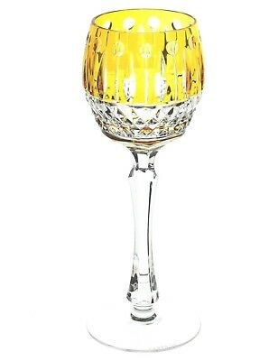 """Faberge Imperial Xenia Yellow Gold Cut to Clear Crystal Wine Goblet 8.25"""" New"""