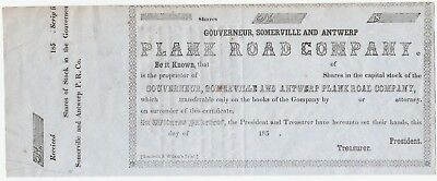 RARE Stock Certificate 1850s Gouverneur Somerville & Antwerp NY Plank Road Co