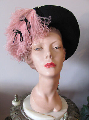 SCARCE* VTG 1940s AHHHMAZING SWING-EVITA ~PINK OSTRICH FEATHER & BOW Hat EXCNT