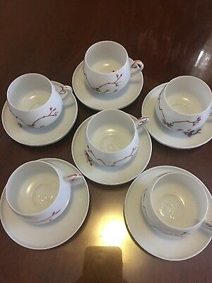 Bone China Hand Painted Floral c1979's - Cups & Saucer -12 pieces