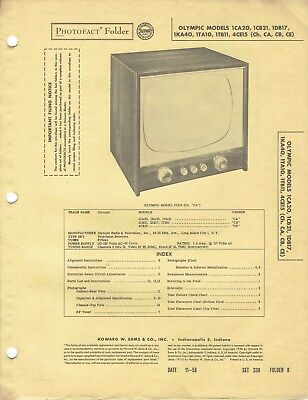 ORIGINAL 1956 Olympic TV Models 1CA20 + service Manual PHOTOFACT SCHEMATIC /133