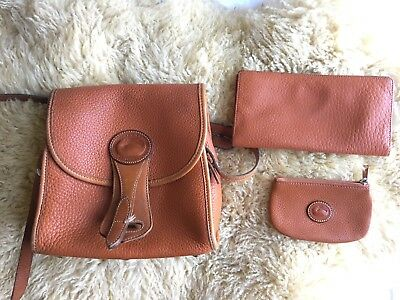 Vintage Dooney And Bourke Brown Equestrian Purse With Wallet And Coin Bag