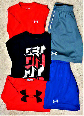 UNDER ARMOUR Youth Boys Mixed Lot Shirts & Shorts HEAT GEAR Size YSM