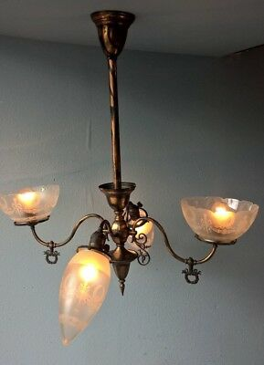 Gas Electric Chandelier Fixture Victorian Japanned Oxidized Copper Etched Shades
