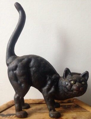 Vintage Hubley Cast Iron Black Cat Green Eyes Arched Back Door Stop