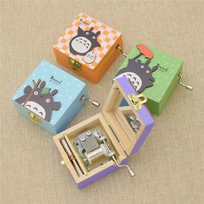 My Neighbor Totoro Hand Crank Wooden Musical Box Home Decorations Ornaments 1pc