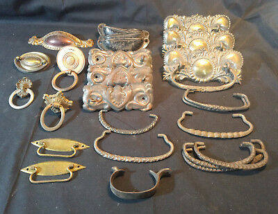 Old Vtg Collectible Furniture Dresser Hardware Handle Pieces Lot