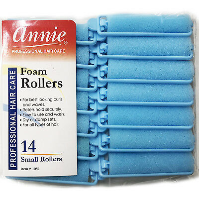 Annie Classic Foam Cushion Rollers #1051, 14 Count Blue Small 5/8""