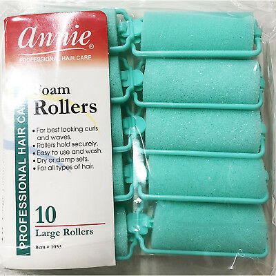 Annie Classic Foam Cushion Rollers #1053, 10 Count Green Large 1""