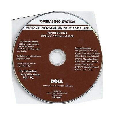 Windows 7 Professional 32-Bit Operating System Reinstallation Disc DVD Dell