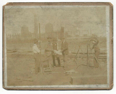 Antique Cabinet Card of Land Surveying Crew along Railroad – ca 1900