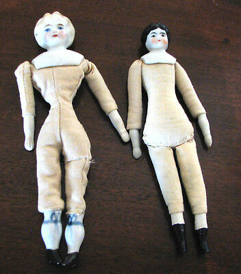 Two Small Antique German China Head Dolls