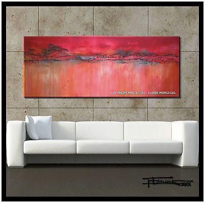 ABSTRACT PAINTING Modern Canvas Wall Art Huge Large Framed Pink USA  ELOISExxx