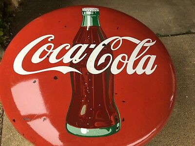 Vintage 36 Inch Porcelain Coka Cola Button Sign With Bottle !!!