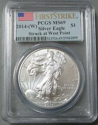 2014 (W) Struck At West Point American Silver Eagle Pcgs Ms 69 First Strike