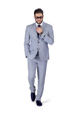 Slim Fit Men Suit Micro Textured Weave 2 Button Notch Collar Fitted AZAR 11812