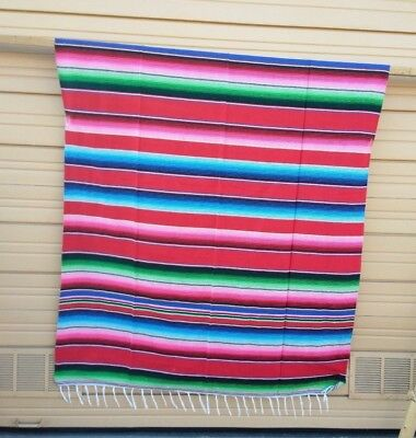 SERAPE XXL,5'X7', Mexican blanket, HOT ROD, Seat covers,MOTORCYCLE, RED MIX