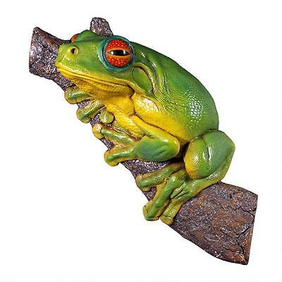 """36"""" Red-Eyed Rainforest Jungle Tree Frog Wall or Tree Home Garden Sculpture"""