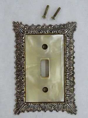 Vintage Edmar C- 43-T Ornate Brass Light  Switch Plate With Faux Mother Of Pearl