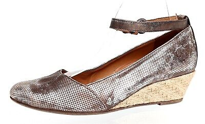low priced fcf50 38ee5 PAUL GREEN ANKLE Strap Espadrille Leather Wedges Metallic Women Sz 6 UK 1301