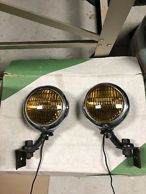 "Pair of 6v Amber Glass 5"" Chrome Fog Lights Antique/vintage car/truck Universal"