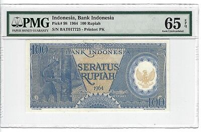 P-98 1964 100 Rupiah, Bank of Indonesia, PMG 65EPQ