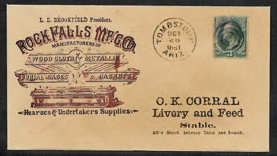 Tombstone Ariz. casket ad collector envelope w genuine stamp 125 years old O1212