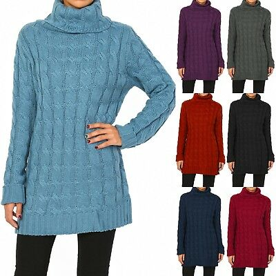 TheMogan Women's Turtle Cowl Neck Cable Knit Pullover Sweater Long Tunic Jumper