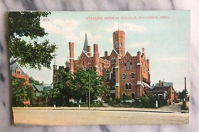 Starling Medical College Columbus, Ohio c. 1910 Postcard Antique Old Brick Stone