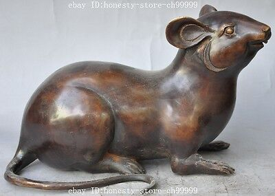 """11"""" chinese fengshui bronze animal zodiac Mouse Rat Mice lucky auspicious statue"""