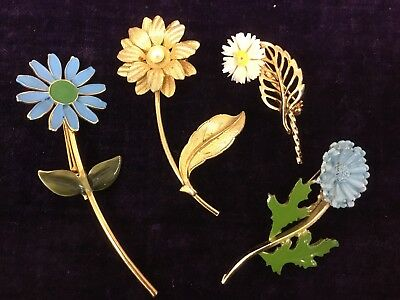 Group of Four Vintage Stem Flower Brooch Pins