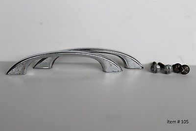 Set of 2~ Vintage Smooth Chrome Drawer Door Cabinet Handle Pull