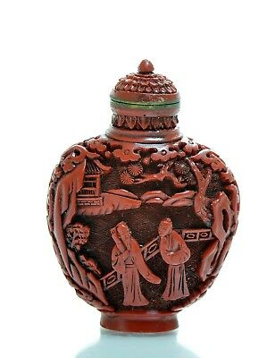 A Small Chinese Carved Lacquer Snuff Bottle