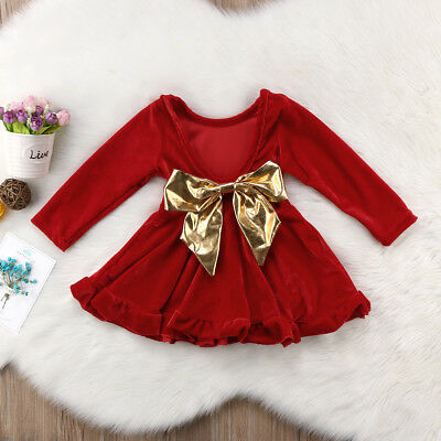 US Pretty Baby Girls Red Velvet Princess Skirt Bow Knot Party Pageant Dress Gift