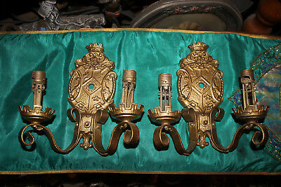 Antique Victorian Wall Sconce Metal Light Fixtures-Pair-Gold-Crown Crest