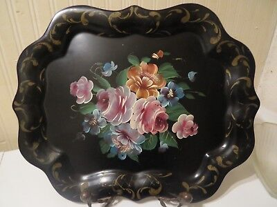 Antique Vintage Tole Chippendale Tray Metal Art Black Hand Painted Floral Sign