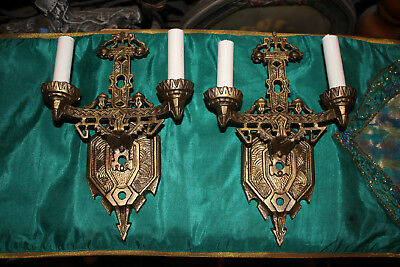 Antique Art Deco Brass Metal Wall Sconce Light Fixtures-Ornate Pair-Gold