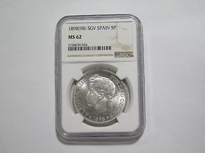 Spain 1898 Sgv 5 Pesetas Alfonso Xiii Ngc Ms62 Silver World Coin Collection Lot