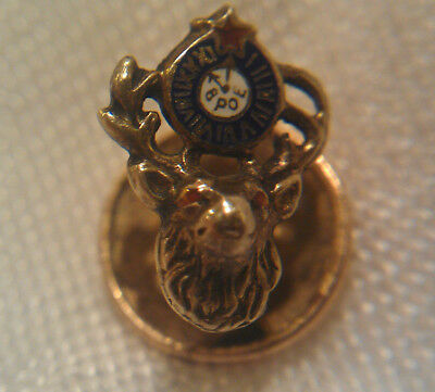 VINTAGE 10K GOLD ELKS FRATERNITY PIN ~ .64g 10k