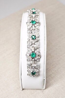 Vintage Art Deco Style Rhodium Plated Clear + Emerald Green Rhinestone Bracelet