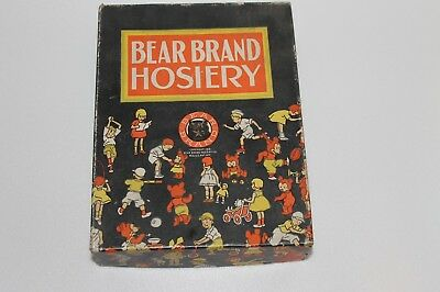 Vintage 1936 Bear Brand Hosiery Advertising Box Kids And Bear Logo Nice