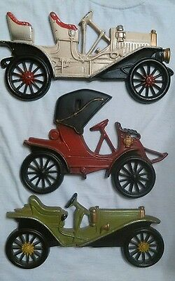3 VINTAGE Metal Midwest Antique Automobile Car Wall Hangings ( Very Nice! )