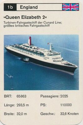 Vintage Single English Ship Card: Queen Elizabeth 2