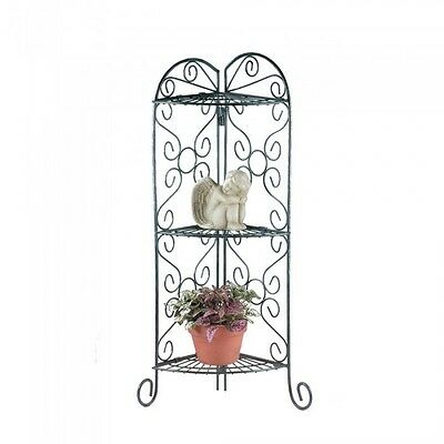 Curio Corner Three Tier Scroll Metal Plant Stand Folding Shelves Home Decor Yard