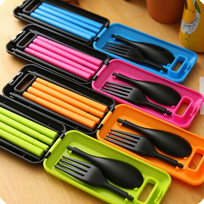 Cute Portable Foldable Camp Tableware Spoon Chopsticks Fork Travel Picnic Set