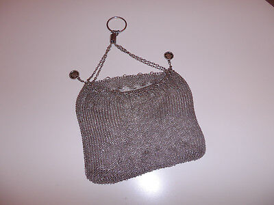 Antique 1920's Chinese Cumshing Solid Silver Drawstring Purse Full Marks 304Grms