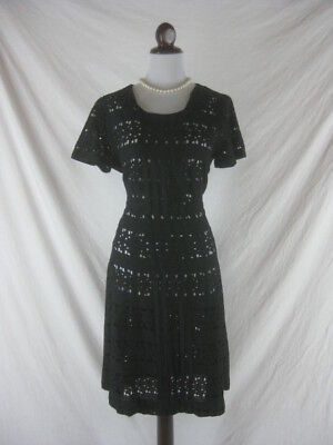 Vtg 40s 50s Black Womens Vintage SHEER Lace Cocktail Party Dress W 34