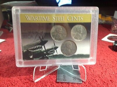 1943 STEEL WARTIME LINCOLN CENTS P,D,&S in H.E. HARRIS SLAB