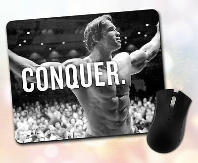 Fitness Quote ~ Arnold Schwarzenegger, Conquer, Motivation ~ Vivid Mouse Pad